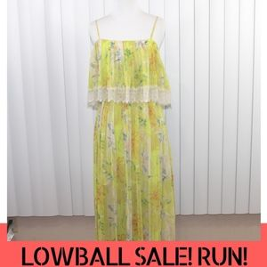 Kimchi Blue Maxi Floral Lace Dress in Yellow